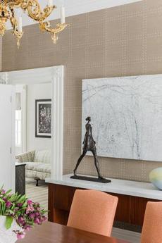 A textured wallpaper was used in a Jamaica Plain dining room.